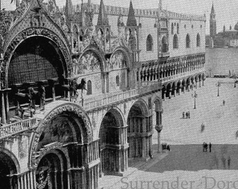 Cathedral Of St. Mark Venice Italy 1890 Vintage Victorian Gothic Architecture Rotogravure Illustration to Frame