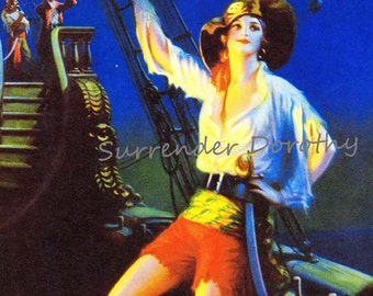 Pirate Queen Of The Dock Edward Eggleston Vintage1920s Pinup Naughty Girl Vintage Man-Cave Poster Print To Frame