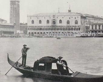 Doge Palace & Bridge Of Sighs Venice Italy 1890 Vintage Victorian Gothic Architecture Rotogravure Illustration to Frame
