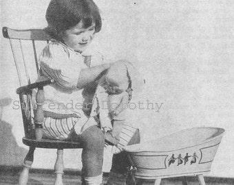 Dolly's Bath Time Armstrong Roberts Vintage Children's Illustration 1927 Original For Framing Black & White
