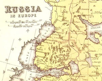Russia Map 1871 Vintage Victorian Lippencott Antique Copper Engraving European Cartography To Frame