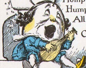 Humpty Dumpty 1927 Nursery Lithograph Print and Verse For Wee Ones