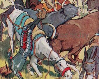 Don Quixote Foster Meadow Blaikie 1927 Vintage Children's Nursery Lithograph Illustration To Frame