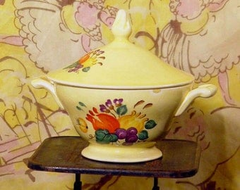 Sugar Bowl Edwin Knowles Yellow Body Fruit Vintage 1930s Depression Era China Home Decor Kitchen Classic Pattern 42-9 USA