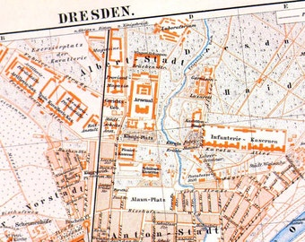 Dresden Germany Map 1903 Vintage Edwardian Steel Engraving Cartography To Frame