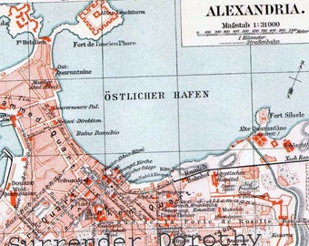 Alexandria Egypt  Map 1906 Vintage Edwardian Era Steel Engraving City Cartography To Frame