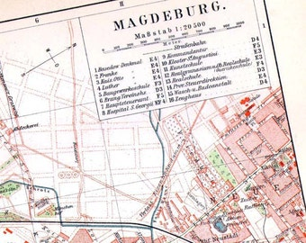 Magdeburg Germany Map 1903 Vintage Edwardian Steel Engraving European Cartography To Frame