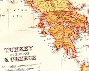 Turkey & Greece Map 1871 Victorian Lippencott Antique Copper Engraving Vintage European Cartography