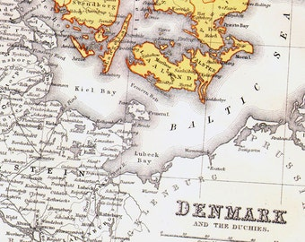 Denmark Map Iceland, Faroe Islands & Bornholm Inserts 1871 Victorian Lippencott Antique Copper Engraving European Cartography