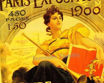 Vintage Paris Exhibition Poster France Francois Flemming Edwardian Advertisement Lithograph To Frame