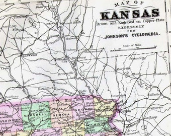Kansas  Map United States USA 1896 Vintage Victorian Antique Copper Engraving Cartography To Frame