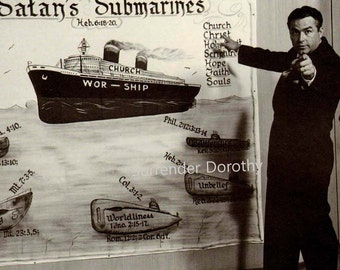 Satan's Submarines Hellfire Preacher Man Vintage Studio Portrait Photo USA Illustration 1950s Black & White Classic Print To Frame