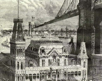 Brooklyn Bridge & Fulton Ferry House 1874 Vintage Steampunk Victorian Era Architecture Illustration  For Framing