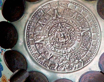 Copper Peso Coin Aztec Doomsday Calendar Vintage Ashtray Handmade In Mexico