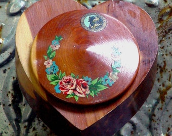Sweetheart Trinket Jewelry Box New Hampshire Heart Vintage Souvenir Rustic Cedar Organizer Tourist Kitsch