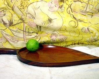Teak Serving Tray  Big Leaf 1960s Vintage Hostess Party Platter Mid Century Kitchen Ware