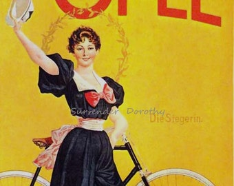 Opel Bicycles Victorian Vintage Advertisement Stuttgart Germany 1900 Steampunk Era Lithograph Poster  Ad To Frame