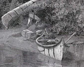Lewis & Clark Carry Canoes Around The Falls 1890s Vintage Victorian Era Explorer Illustration To Frame