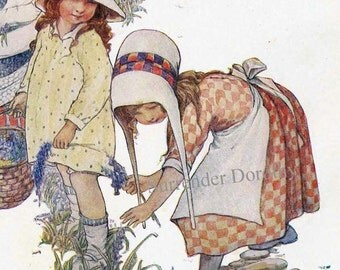 Picking Wild Flowers Lillian Govey 1920s Vintage Children's Storybook Lithograph Illustration To Frame