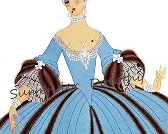 Madame de Pompadour Costume For Louis XV 1933  By Erte' Theatrical Costume Fashion Illustration To Frame