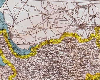 Stropshire, Stafford & Cheshire County England Map Antique Copper Engraving European Cartography 1892 Victorian Geography Art To Frame