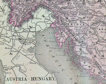 Map Austria Hungary Serbia Romania 1890 Rand McNally Four Color Victorian Antique Cartography Of Europe To Frame