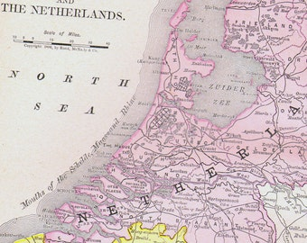 Netherlands Belgium Map Southern Italy 1890 Rand McNally Four Color Victorian Antique Cartography Of Europe To Frame