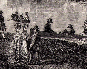 Fishing & Boating Party Victorian Society Fashion 1879 Original Antique Engraving To Frame Black and White