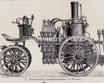 Fire Engines Steam Pump Trucks Engineering Chart Edwardian Germany For Framing 1906