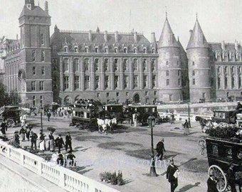 Palace Of Justice Paris France Victorian Architecture 1890 Rotogravure Photo Illustration To Frame