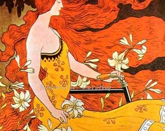 Crescent Bicycle 1899 Art Nouveau Lithograph Poster Transportation Ad To Frame