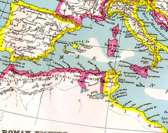 Roman Empire Third Century Map Antique Copper Engraved European Cartography 1892 Victorian Geography Art To Frame