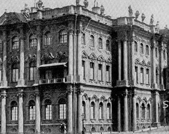 Winter Palace St. Petersburg Russia 1890 Vintage Victorian Architecture Rotogravure Photo Illustration For Framing