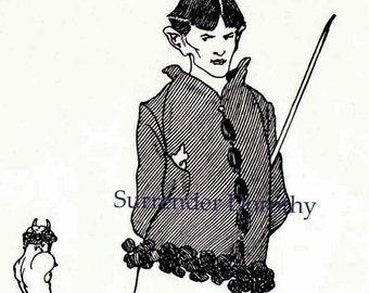 Aubrey Beardsley Self Portrait As Pan Bound & Tethered Design For The Savoy 1896 Vintage Illustration