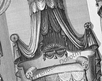 Alcove Canopy Bed Thomas Sheraton Design Drawing Oppulent Bedroom Furniture Vintage Plans To Frame