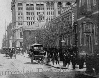 Philadelphia Pennsylvania Chestnut Street USA 1890 Vintage Victorian Rotogravure Photo Illustration For Framing