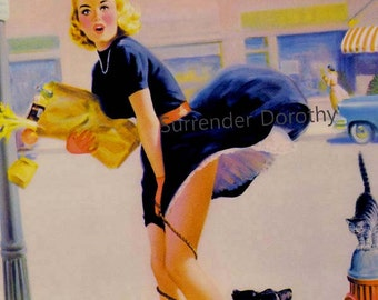 Blonde Shopper Loses Panties Vintage Pinup Girl Poster Print To Frame Mid Century Cheesecake 1950s By Art Frahm