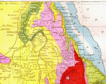 Nile River Africa Map Antique Copper Engraving Vintage Cartography 1892 Victorian Geography Art To Frame