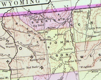 Wyoming Map United States USA 1896 Victorian Antique Copper Engraving Vintage Cartography To Frame