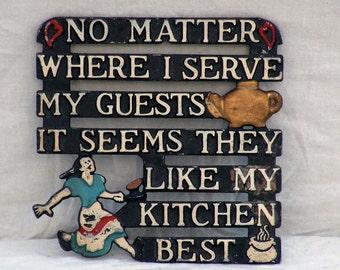 Kitchen Is Best Aluminium Trivet Vintage 1960s Country Kitsch Cottage Kitchen Home Decor