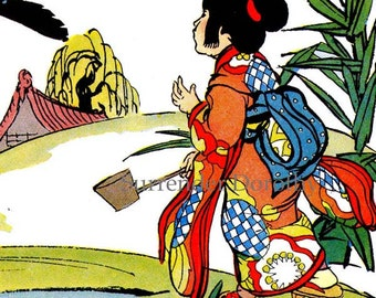 Hurry Hurry Mr Crow Little Geisha Girl Vintage Lithograph & Verse Japan 1940s Children's Lithograph Print For Framing