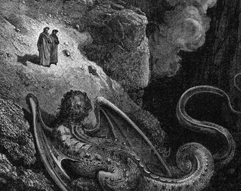 Gustave Dore Geryon, Symbol Of Deceit Inferno Canto 17 Vintage Engraving To Frame