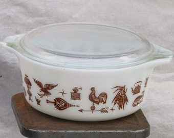 Pyrex Early American Round Casserole W Cover One Quart White Brown Milkglass 1960s Mid Century Kitchen Bake Ware