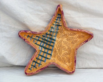 Lucky Star Serving Dish Ashtray Pottery Handmade By Hippies 1970s Vintage Kitchen Ware USA
