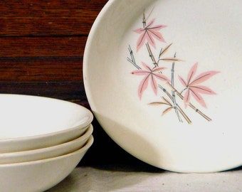 Salem Pink Bamboo Coupe Cereal Bowl South Seas Vintage Floral China 1960s USA