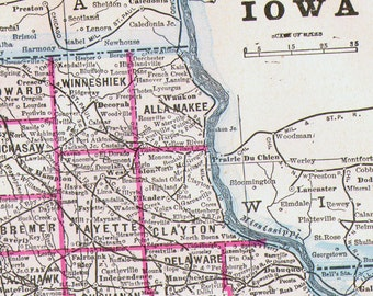 Map Iowa USA State Antique Copper Engraving Vintage North American Cartography 1892 Victorian Geography Art To Frame