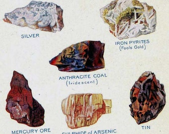 Metal Ores Valuable Minerals  Chart Edwardian Era 1912 Geology Lithograph Illustration For Framing