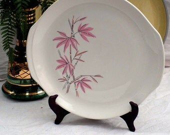 Salem Pink Bamboo Chop Plate Or Cake Platter 1950s Mid Century China Pink Gray Flowers South Seas