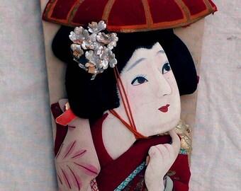 Geisha Battledore Hagoita-Ichi Paddle Mid Century Japanese Vintage Home Decor
