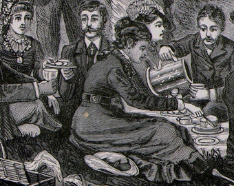 Picnic Lunch Party Victorian Society Fashion 1879 Original Antique Engraving To Frame